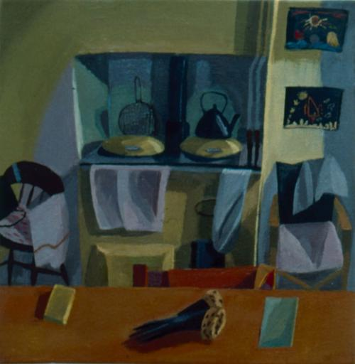 Gloves on Kitchen Table 1998 Oil on Canvas 30x30cm