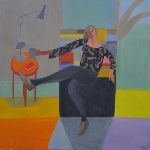 Portrait with Martha's Cushion 2019 Oil on Canvas 92x92cm